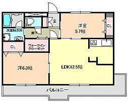 コンフォート鶴原[7階]の間取り