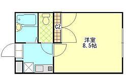フローラ芥子[107号室]の間取り