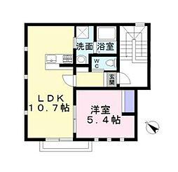 JR南武線 立川駅 徒歩5分の賃貸アパート 2階1LDKの間取り