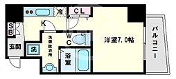エグゼ阿倍野 5階1Kの間取り