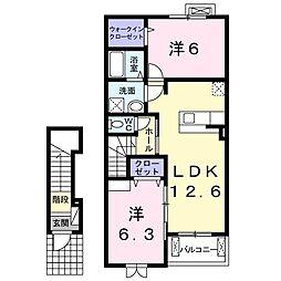 JR阪和線 東岸和田駅 徒歩23分の賃貸アパート 2階2LDKの間取り