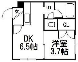 北海道札幌市豊平区平岸六条14の賃貸アパートの間取り