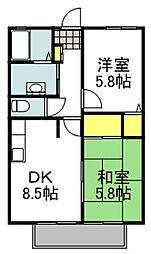 ハイツ華の元 2階2LDKの間取り