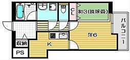 大阪府茨木市大手町の賃貸マンションの間取り