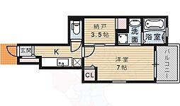 阪急宝塚本線 山本駅 徒歩17分の賃貸アパート 1階1SKの間取り