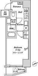 都営三田線 芝公園駅 徒歩9分の賃貸マンション 10階1Kの間取り