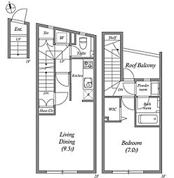 JR山手線 恵比寿駅 徒歩12分の賃貸マンション 1階1LDKの間取り