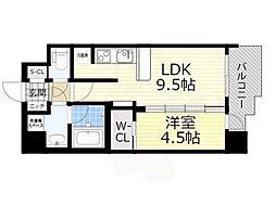 スプランディッド新大阪5 9階1LDKの間取り