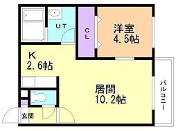 仮)美園12-7MS 3階1LDKの間取り