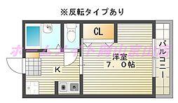 岡山県岡山市北区津島福居2の賃貸アパートの間取り