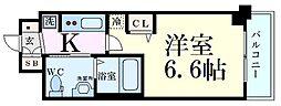 エステムコート新大阪IXグランブライト 5階1Kの間取り