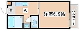 フレールトモエ 2階1Kの間取り