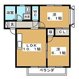 レジデンスコンフォートA[1階]の間取り
