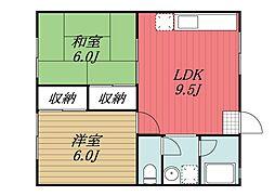千葉県千葉市若葉区貝塚2丁目の賃貸アパートの間取り