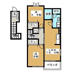 フォンターナサノD[2階]の間取り