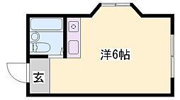 JR播但線 香呂駅 徒歩1分の賃貸マンション 4階ワンルームの間取り