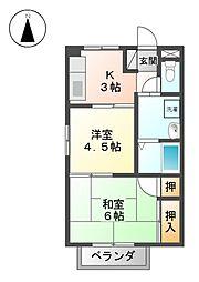愛知県名古屋市北区楠2丁目の賃貸アパートの間取り