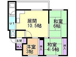 緑マンションB棟 3階3LDKの間取り