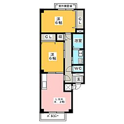 レジデンスリーバ[2階]の間取り