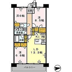 ロイヤルパークス西新井[1122号室]の間取り