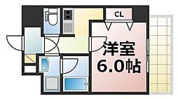 U-ro北巽 5階1Kの間取り