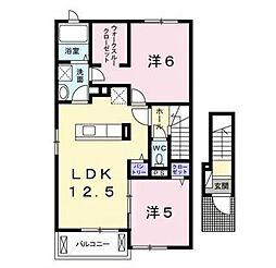 グランテージ小見川CENTER 2階2LDKの間取り