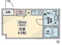 西武新宿線 中井駅 徒歩3分の賃貸マンション 1階ワンルームの間取り