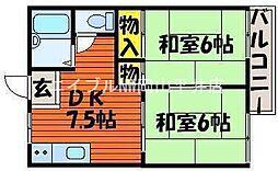岡山県岡山市中区浜1丁目の賃貸アパートの間取り