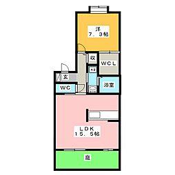 カミーリヤハイツ[1階]の間取り