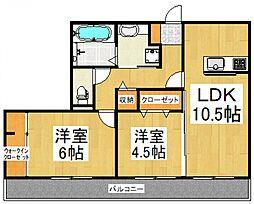 ディアマンテ弐番館[1階]の間取り