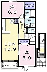 岡山県岡山市北区学南町3丁目の賃貸アパートの間取り