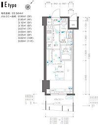 ZOOM横浜関内 8階1Kの間取り