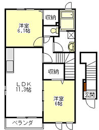 メロウ・ウィステリア[2階]の間取り