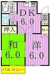 柿ノ木台ハイツ[205号室]の間取り