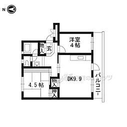 久御山団地31号棟 5階2DKの間取り