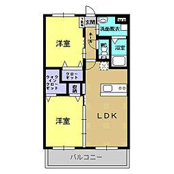 エトワール 2階2LDKの間取り