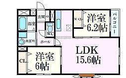 阪急神戸本線 六甲駅 徒歩10分の賃貸アパート 3階2LDKの間取り