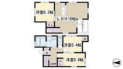 [一戸建] 愛知県名古屋市名東区高社2丁目 の賃貸【/】の間取り