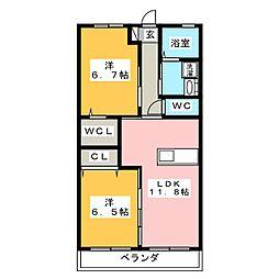 ラ・カーザ・ドルチェ A棟[1階]の間取り