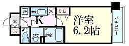 Osaka Metro御堂筋線 西中島南方駅 徒歩3分の賃貸マンション 2階1Kの間取り