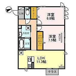 (仮称)D-room玉串町西[3階]の間取り
