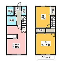 [テラスハウス] 愛知県名古屋市緑区東神の倉3丁目 の賃貸【/】の間取り