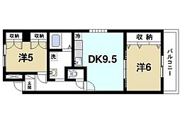 プラムキャッスルS−1[6階]の間取り