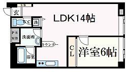 イーストコート2番街 9階1LDKの間取り