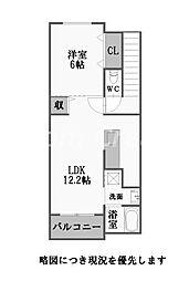 徳島県徳島市中島田町2丁目の賃貸アパートの間取り