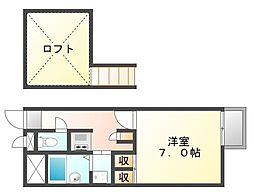 香川県高松市福岡町2丁目の賃貸アパートの間取り