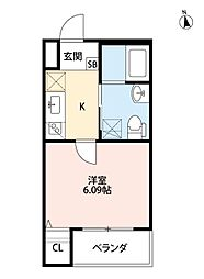 ファーストハウス 1階1Kの間取り