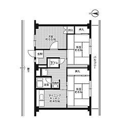 ビレッジハウス江西[2階]の間取り