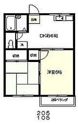 東京都府中市是政6丁目の賃貸アパートの間取り