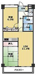 ピュアハイツ観音寺II[703号室]の間取り